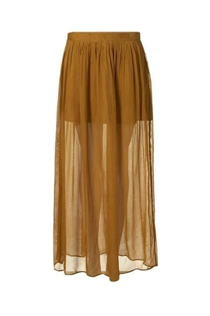 Split Detailed Brown Longline Skirt