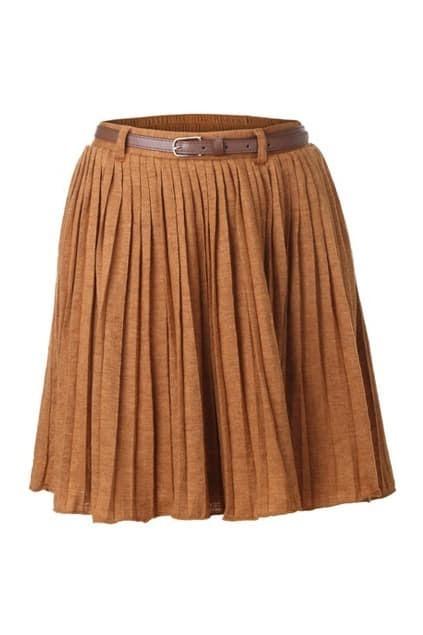 Belted Ginger Pleat Skirt