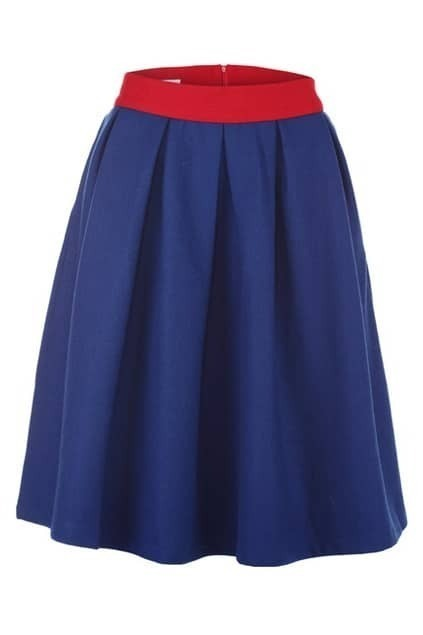 Contrast Waistband Blue Flared Skirt