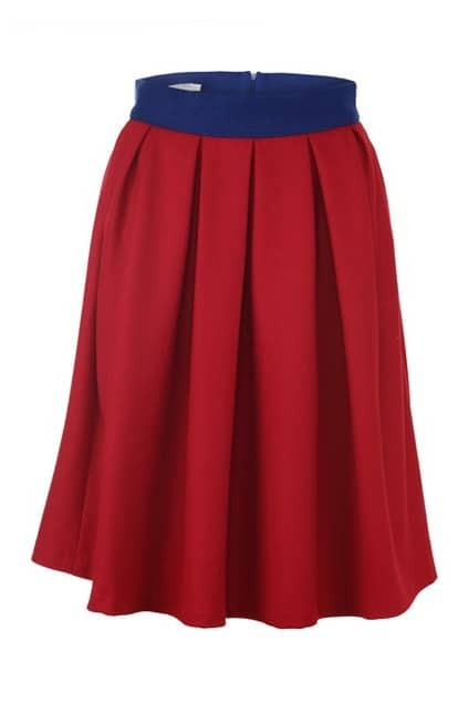 Contrast Waistband Red Flared Skirt