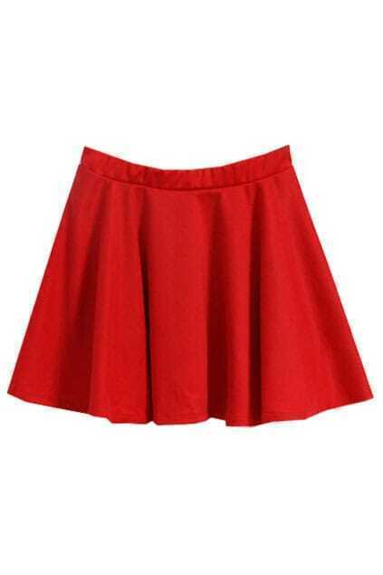 Weave Lower Hem Red Skirt