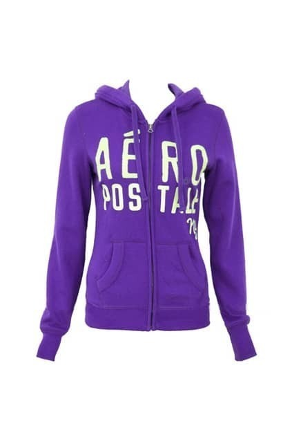 Embroidered Alphabets Zipped Purple Sweat Hoodie