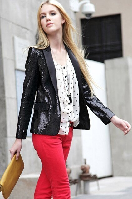 Paillettes Shoulder Pads Retro Black Blazer