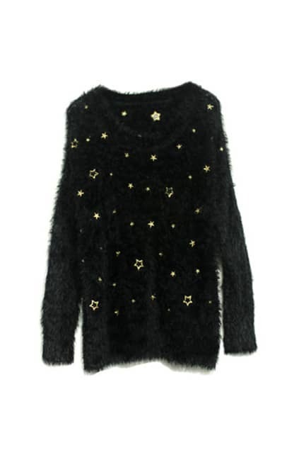 Embroidery Star Black Mohair Jumper