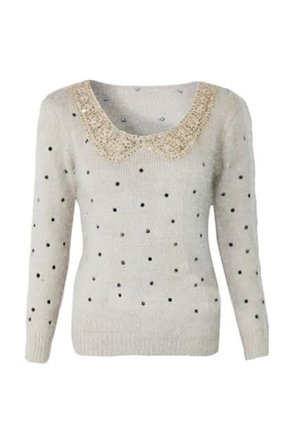 Peter Pan Collar Embroidered Cream Jumper