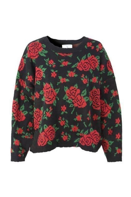 Retro Floral Batwing Sleeve Black Jumper