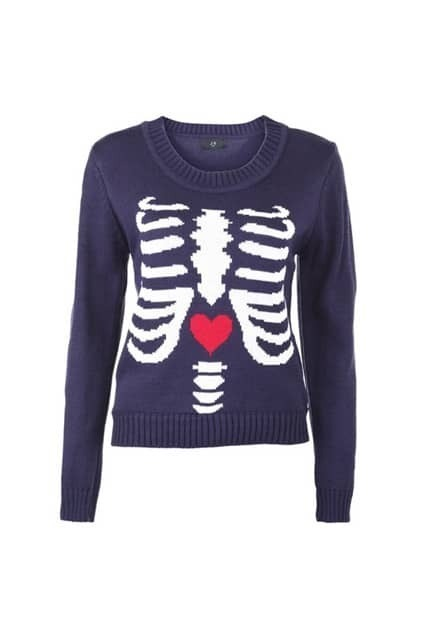 Ribs Print Blue Jumper