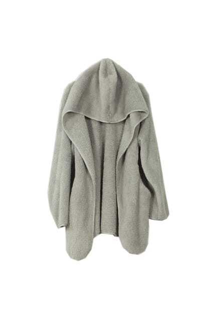 Loose Grey Hooded Coat