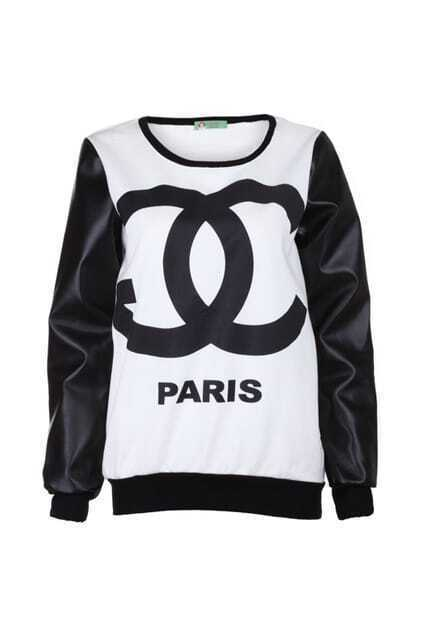 Splicing PU Sleeves Chanel Print Top