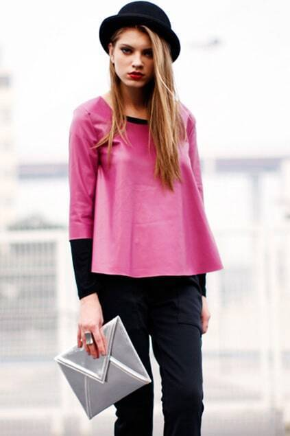 A-line PU Purple T-shirt