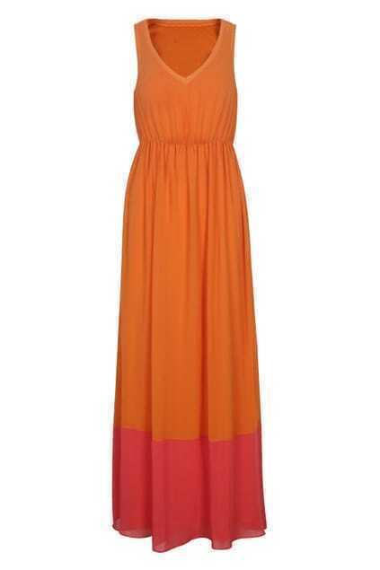 High Waist Orange Tank Dress