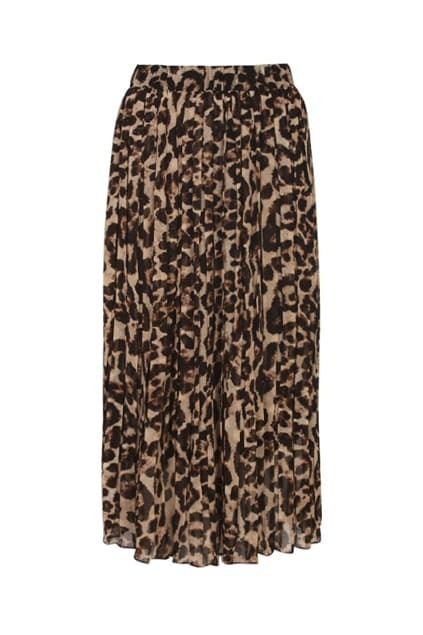 Brown Leopard Print Chiffon Skirt