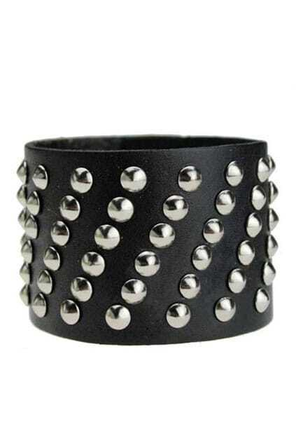 Punk Style Cow Leather  Black Bracelet