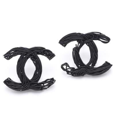 Chanel Shaped Black Stud Earrings