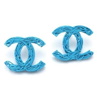 Chanel Shaped Blue Stud Earrings