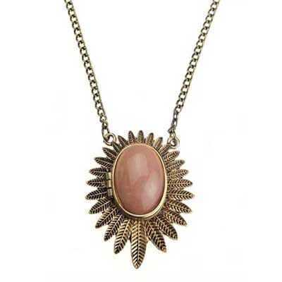 Pink Flower Copper Necklace