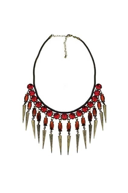 Red Crystal Spike Pendant Necklace