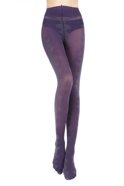 Jacquard Detailed Purple Tights