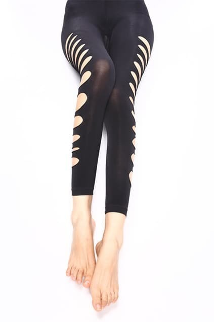 Hollow Detailed Sexy Black Leggings