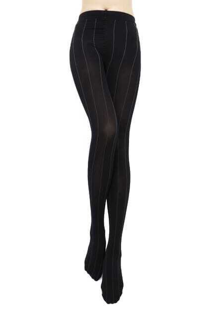 Vertical Striped Black Tights