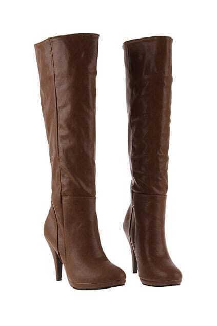 High Leg Heeled Brown Boots