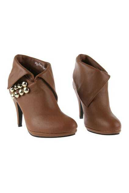 Rivert Detail Heeled Brown Boots