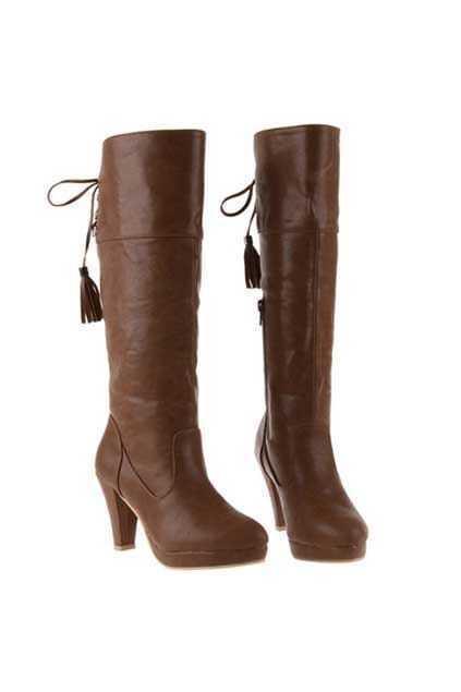 Tassel Back Heeled Brown Boots
