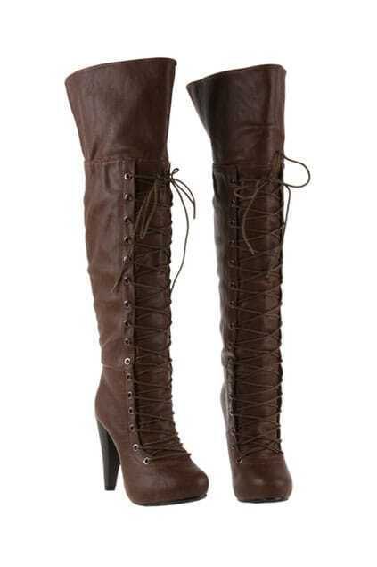 Lacing Brown Knee Boots