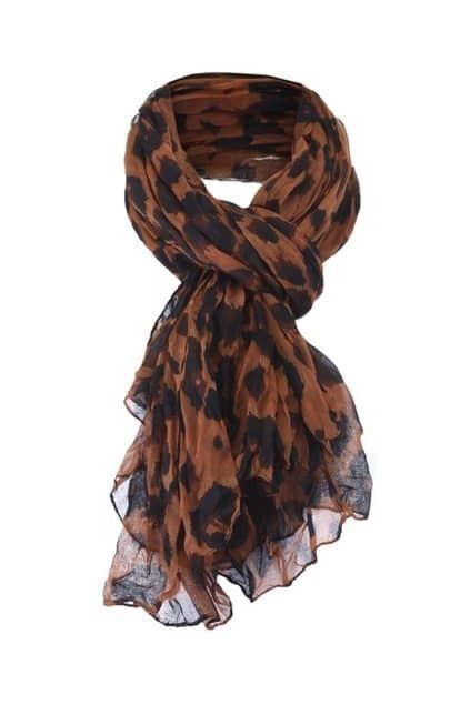 Leopard Print Pleated Scarf