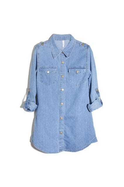 Contrst Buttons Detail Blue Shirt