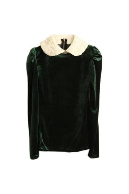 Pearled Collar Green Velvet Top