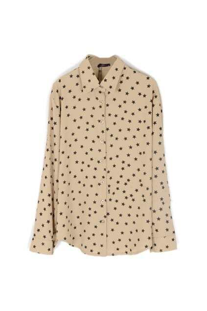 Five-pointed Star Print Nude Shirt