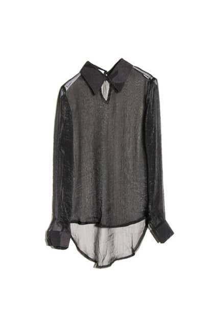 Sheer Retro Black Shirt