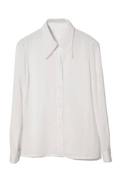 Retro White Chiffon Shirt