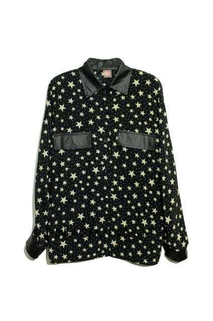 Splicing PU Stars Print Shirt