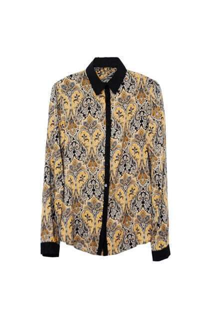 Retro Pattern Contrast Colar Shirt