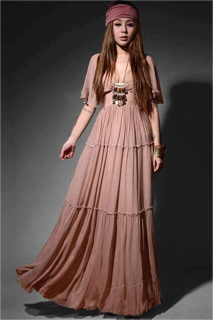 Retro Nude Maxi Dress