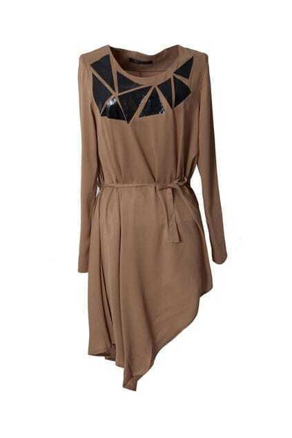 Triangle Belted Camel Dress