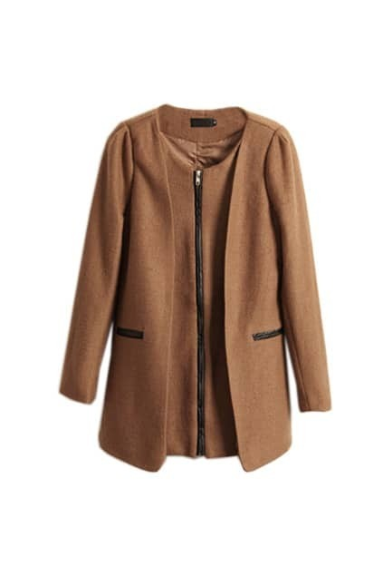 Faux Fur Montage Camel Outwear