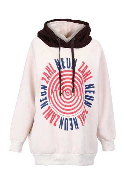 Letters Patternning Light Apricot Hoodie