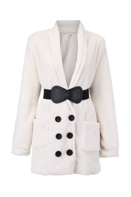 Double Breasted White Belted Coat