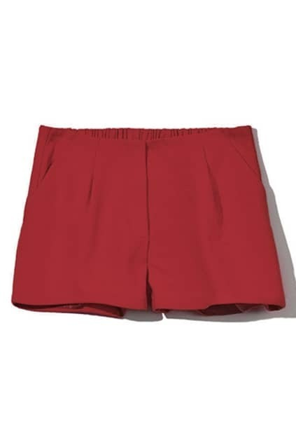 Double Side Zips Red Shorts