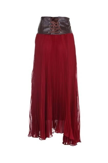 Wide Waistband Red Pleated Skirt