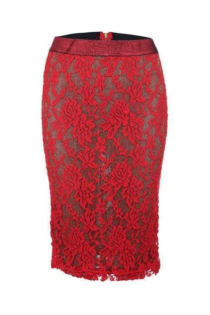 Lace Metallic Red Skirt
