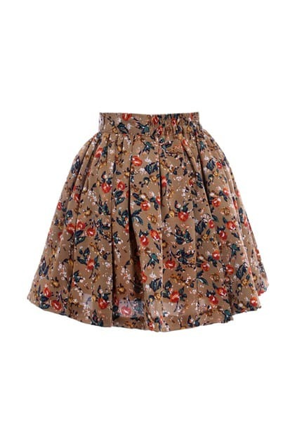 Floral Print Golden Brown Skirt
