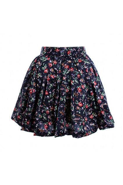 Floral Print Dark Blue Skirt