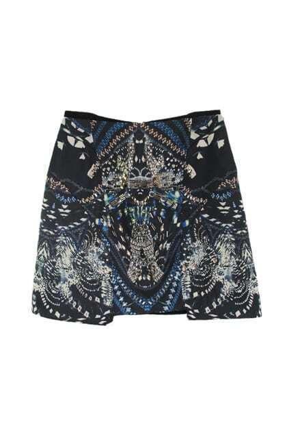 Beads Embellished Dark Mini Skirt