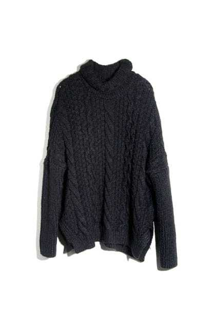 Roll Neck Batwing Sleeves Black Jumper