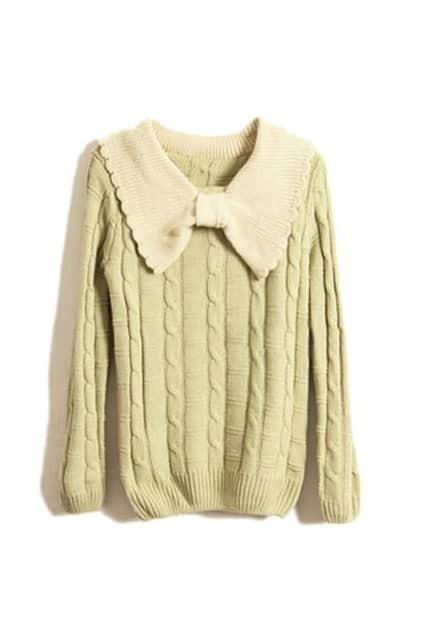 Knitted Bowknot Neck Light Green Sweater