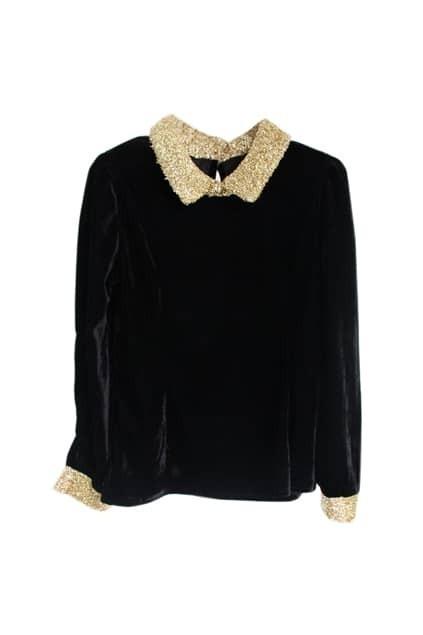 Golden Collar Black T-shirt